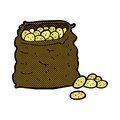 comic cartoon sack of potatoes Royalty Free Stock Photo