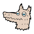 Comic cartoon smug wolf face retro book style Royalty Free Stock Photography