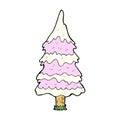 Comic cartoon snowy pink tree retro book style Stock Photo