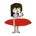 comic cartoon surfer girl Royalty Free Stock Photo