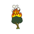 Comic cartoon tree on fire retro book style Royalty Free Stock Images