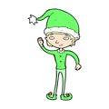 Comic cartoon waving christmas elf retro book style Royalty Free Stock Photography
