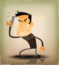 Comic cop hero illustration of a civil or secret agent character poster holding automatic handgun in self defense position with Royalty Free Stock Images