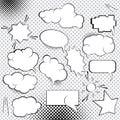 Comic Design Elements. Speech bubbles collection. Cartoon blank think clouds set illustration