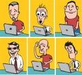 Comic doodle dudes with laptops