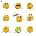 Comic emoticon set Stock Photos