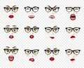 Comic emotions. Woman with glasses facial expressions, gestures, emotions happiness surprise disgust sadness rapture