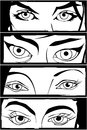 Comic eyes style drawing of four different woman Royalty Free Stock Photo