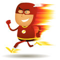 Comic Fast Running Superhero Royalty Free Stock Photography