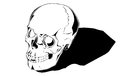Comic human skull is hand drawn and live traced fills and outlines are separate groups colors can be changed easily shadow can be Stock Photography
