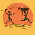 Comic illustration with aborigines african warrior pursuing for girl dinner Stock Photo
