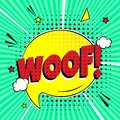 Comic lettering WOOF! in the speech bubble comic style flat design.