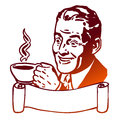 Comic Man presents Cup of Coffee Royalty Free Stock Photo