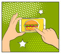 Comic phone with halftone shadows and Hamburger. Hand holding smartphone with buy online internet shopping. Fast food background.