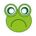 Comic sad frog character icon