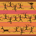 Comic seamless pattern of hunting aborigines african Stock Images