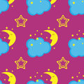 Comic sleep crescent moon, clouds, stars. Kids seamless pattern.