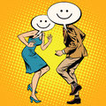 Comic smiley Emoji dancers man woman Royalty Free Stock Photo
