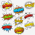 Comic sound effects collection of nine multicolored Royalty Free Stock Photo
