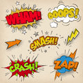 Comic sound effects with grunged style set collection of four multicolored a print Royalty Free Stock Photo