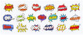 Comic sound speech effect bubbles set  on white background illustration. Wow, pow, bang, ouch, crash, woof, no Royalty Free Stock Photo