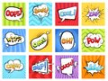 Comic sounds. Cartoon explode stripped burst frames and speech bubbles with words boom vector retro template