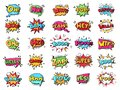 Comic speech bubble. Cartoon comic book text clouds. Comic pop art book pow, oops, wow, boom exclamation signs vector Royalty Free Stock Photo