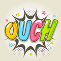 Comic speech bubble with colorful text ouch over explosion art on stars decorated background Stock Image