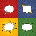 Comic speech bubble. Retro burst background in pop style. Set of retro background form with various colors. Vector