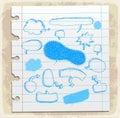Comic speech bubble set paper note, vector illustration