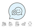 Comic speech bubble with Smile line icon.