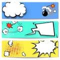Comic speech bubble  web header set  with Royalty Free Stock Photo