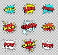 Comic speech bubbles. Cartoon explosions text balloons. Wtf bang ouch boom smack pow crash poof popping vector shapes Royalty Free Stock Photo