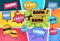 Comic speech bubbles. Cartoon pop art clouds comics page boom bang splash explosion sticker text cloud shape balloon