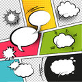 Comic speech bubbles comic strip background vector illustration Stock Photos