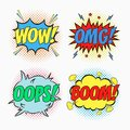 Comic speech bubbles with emotions - WOW, OMG, OOPS And BOOM. Cartoon sketch of dialog effects in pop art style on dots halftone. Royalty Free Stock Photo