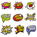 Comic speech bubbles with promo words. Discount, sale and shopping cartoon banners vector set