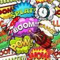 Comic speech bubbles seamless pattern. Rocket. Alarm clock. Vector