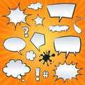 Comic speech bubbles and splashes set illustration of a of cartoon design elements question marks clouds Stock Photo