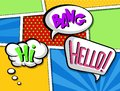 Comic speech bubbles with text set, colorful cartoon sound effects vector Illustrations in pop art style