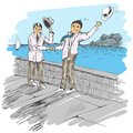 Comic strip. Two mens met by a sea. Friendly greeting. Royalty Free Stock Photo