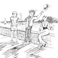 Comic strip. Two mens met by a sea. Friendly greeting. Peoples take off their hats as a sign of respect. Royalty Free Stock Photo