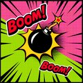Comic style bomb illustration. Design element for poster, banner, flyer.
