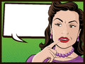Comic style confused housewife illustration of a pop art book stereotypical who looks very Stock Images