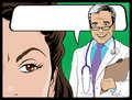 Comic style doctor and woman patient talking illustration of pop art comicbook about the results of the medical test or maybe Royalty Free Stock Image