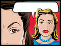 Comic style gossiping women illustration of pop art book behind each others backs Royalty Free Stock Photos
