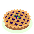 Comic style hot, freshly baked blueberry, fruit pie, cartoon vec