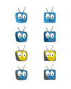 Comic TV icon set Royalty Free Stock Image