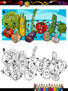 Comic vegetables cartoon for coloring book or page illustration of funny food objects group children education Royalty Free Stock Image