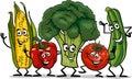 Comic Vegetables Group Cartoon...
